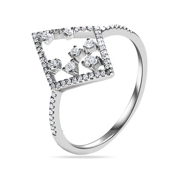 14KW TRIANGLE RING SET WITH 63 DIAMONDS T.W 0.23CT