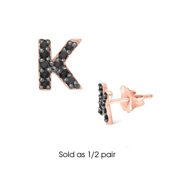 "Black Diamond Single Initial ""K"" Stud Earring (1/2 pair)"