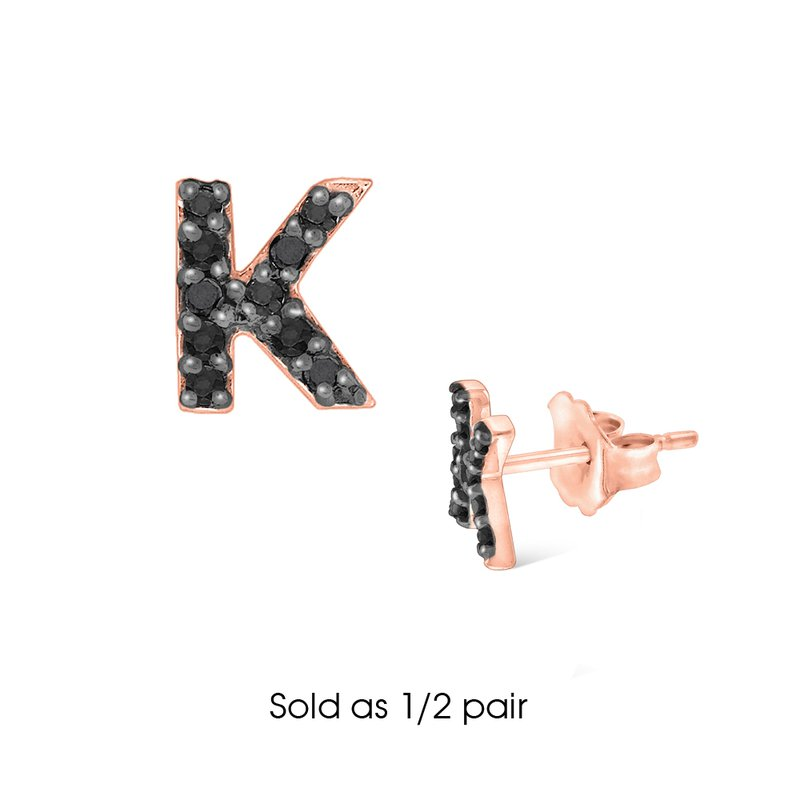 "KC Designs Black Diamond Single Initial ""K"" Stud Earring (1/2 pair)"