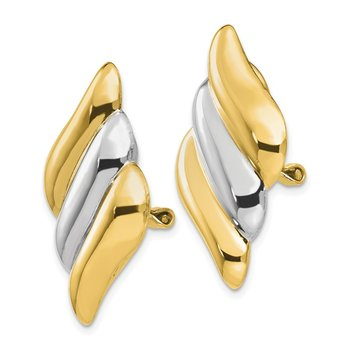14k & Rhodium Non-pierced Omega Back Earrings