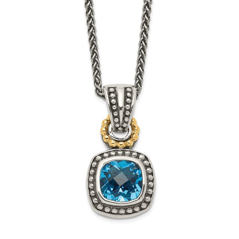 Quality Gold Sterling Silver w/14k Antiqued Blue Topaz Necklace