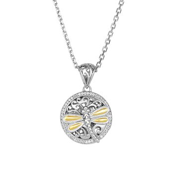 Silver & 18K Dragonfly Necklace