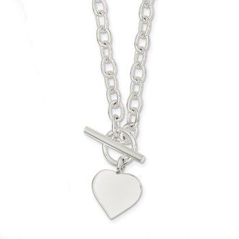 Sterling Silver Engraveable Heart Necklace