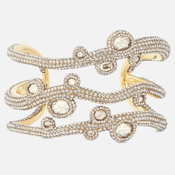 Tigris Cuff, White, Gold-tone plated