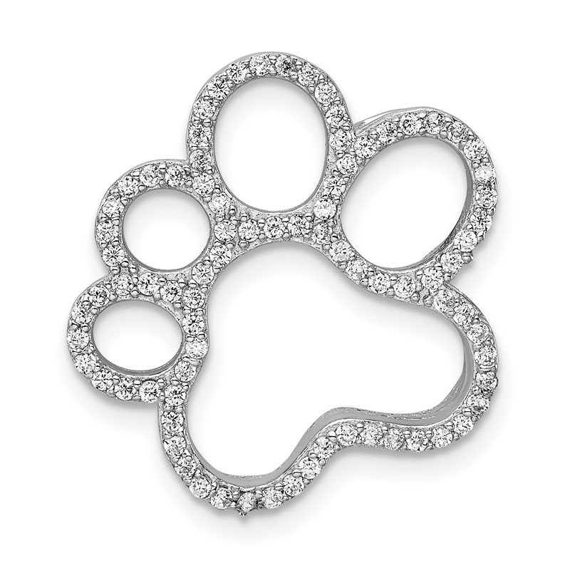 Quality Gold Sterling Silver Rhodium-plated CZ Paw Print Slide