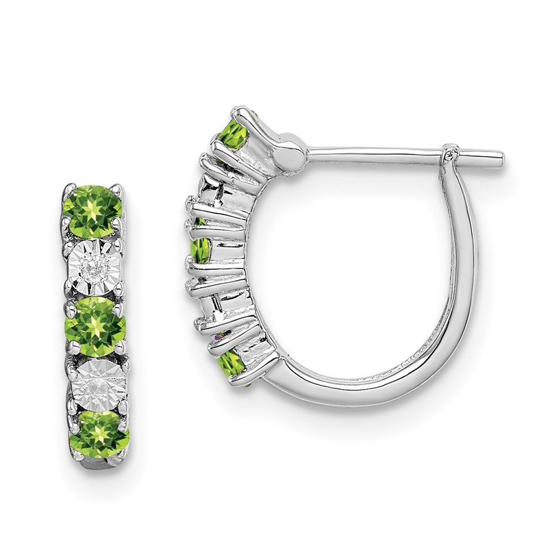 Quality Gold Sterling Silver Rhodium-plated Peridot Diamond Earrings