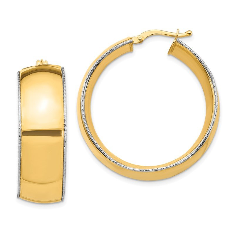 Quality Gold 14K Two-Tone 11x31mm Polished D/C Edge Hoop Earrings