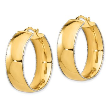 14K Two-Tone 11x31mm Polished D/C Edge Hoop Earrings