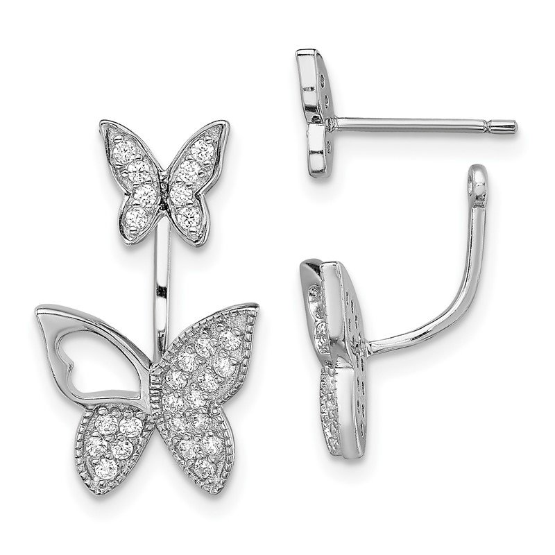 Quality Gold Sterling Silver Rhodium-plated CZ Butterfly Front and Back Earrings