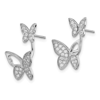 Sterling Silver Rhodium-plated CZ Butterfly Front and Back Earrings