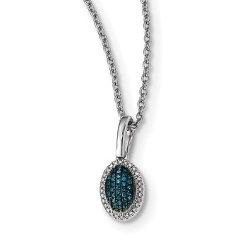 Sterling Silver Rhod Plated Blue Diamond Oval Pendant Necklace
