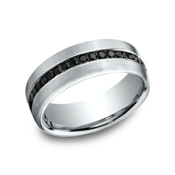 7.5 mm Comfort-Fit Black Diamond Wedding Ring