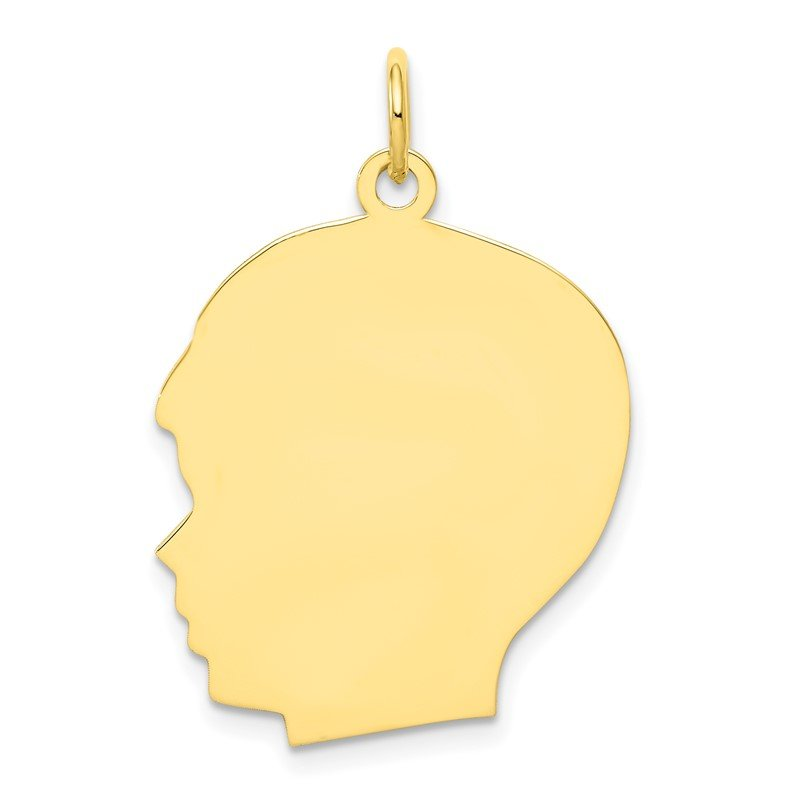 Quality Gold 10K Plain Large .018 Gauge Facing Left Engravable Boy Head Charm