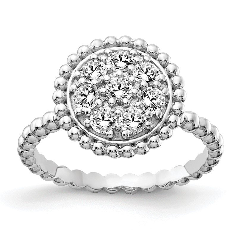 J.F. Kruse Signature Collection Sterling Silver CZ Round Ring