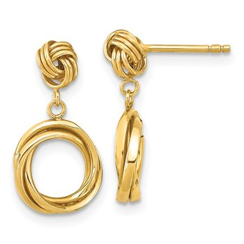 14k Madi K Polished Love Knot with Small Fancy Dangle Post Earrings