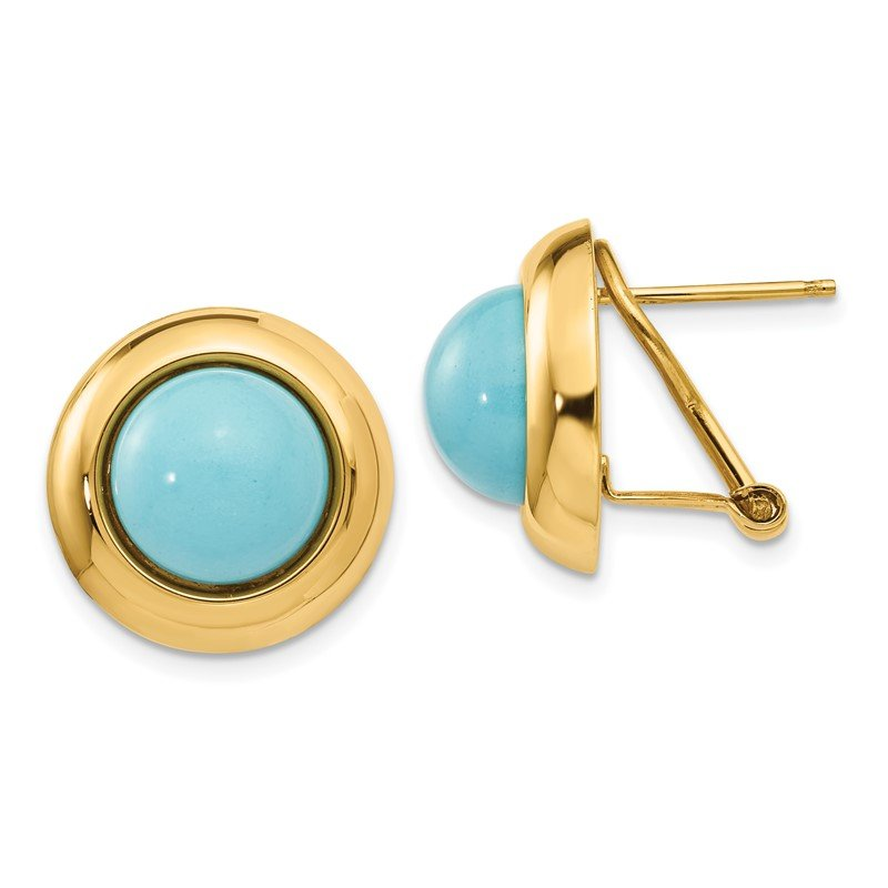 Quality Gold 14k Omega Clip Reconstituted Turquoise Earrings