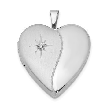 Sterling Silver Rhodium-plated 20mm with Diamond Star Heart Locket
