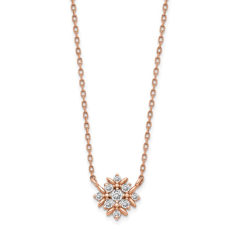 Quality Gold 14K Rose Gold Fancy CZ w/1in ext. Necklace