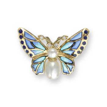 18 Karat Gold Butterfly Necklace-Blue. Diamonds and Pearls