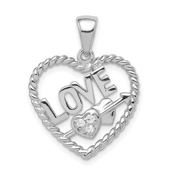 Sterling Silver CZ Love Heart Pendant
