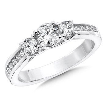 Round Diamond 3-Stone 1.004k White Gold Engagment Ring With channel set Shank (1.00 ct. tw.).