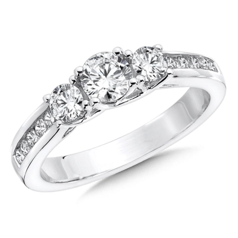 SDC Creations Round Diamond 3-Stone 1.004k White Gold Engagment Ring With channel set Shank (1.00 ct. tw.).
