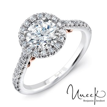 "Uneek ""Fiorire"" Round Diamond Halo Engagement Ring with Pave Shank in 14K White Gold, and Under-the-Head Filigree in 14K Rose Gold"