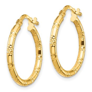 14K 2x20mm Diamond-cut Hoop Earrings