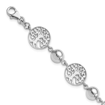 Sterling Silver Rhod-plated Round Tree and Circle w/1in ext. Bracelet