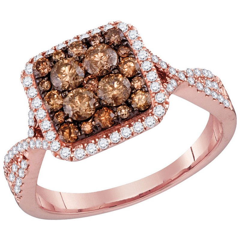Gold-N-Diamonds, Inc. (Atlanta) 14kt Rose Gold Womens Round Brown Diamond Square Cluster Bridal Wedding Engagement Ring 1.00 Cttw