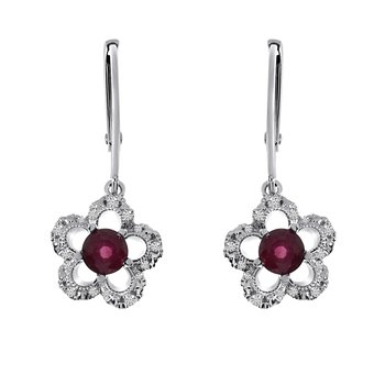 14k White Gold Ruby and Diamond Flower Leverback Earrings