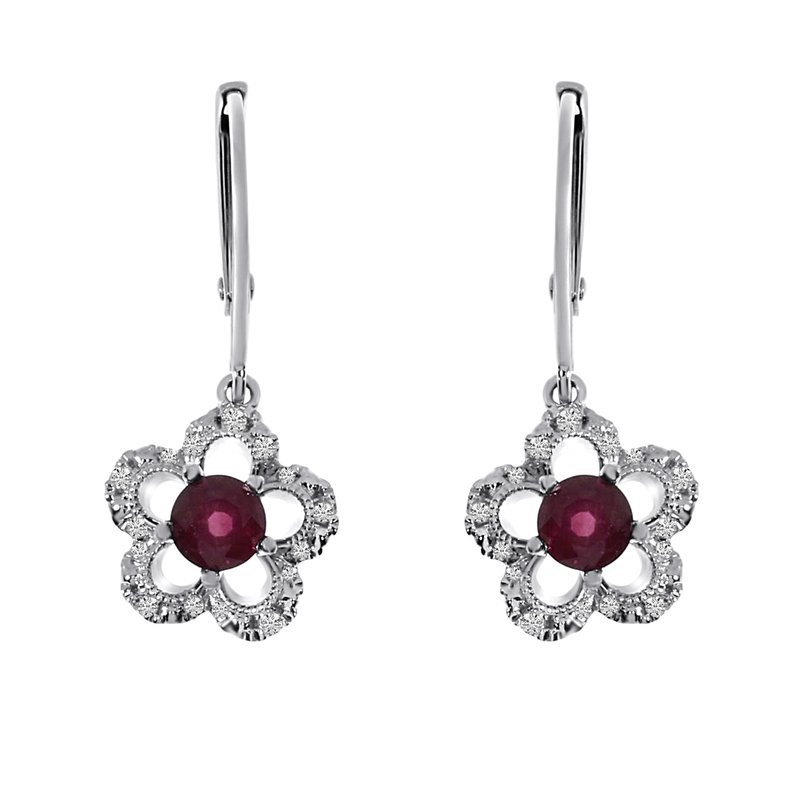 Color Merchants 14k White Gold Ruby and Diamond Flower Leverback Earrings