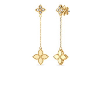 18Kt Gold Short Drop Earrings With Diamonds