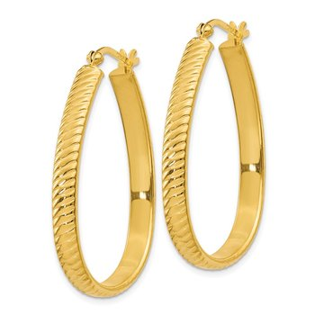 Sterling Silver Gold Flash Plated 4x25mm Textured Oval Hoop Earrings