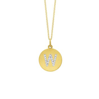 "Diamond Disc Initial ""W"" Necklace in 14k Yellow Gold with 21 Diamonds weighing .11ct tw."