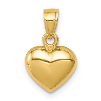 14K Polished One-sided Heart Pendant