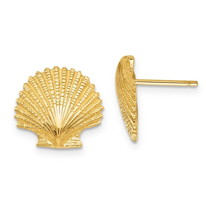 Quality Gold 14K Scallop Shell Post Earrings