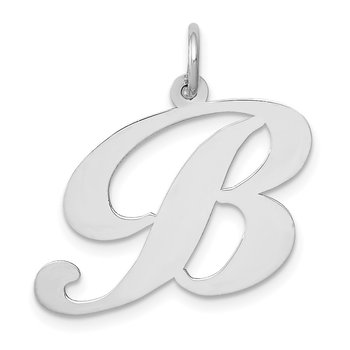 14k White Gold Large Fancy Script Letter B Initial Charm