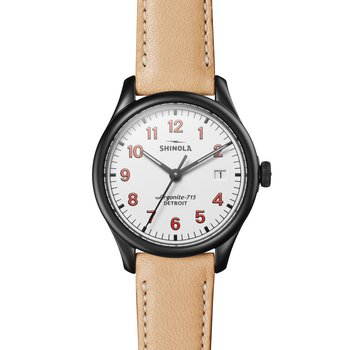 The Vinton 38mm Matte White Dial Leather Strap Watch