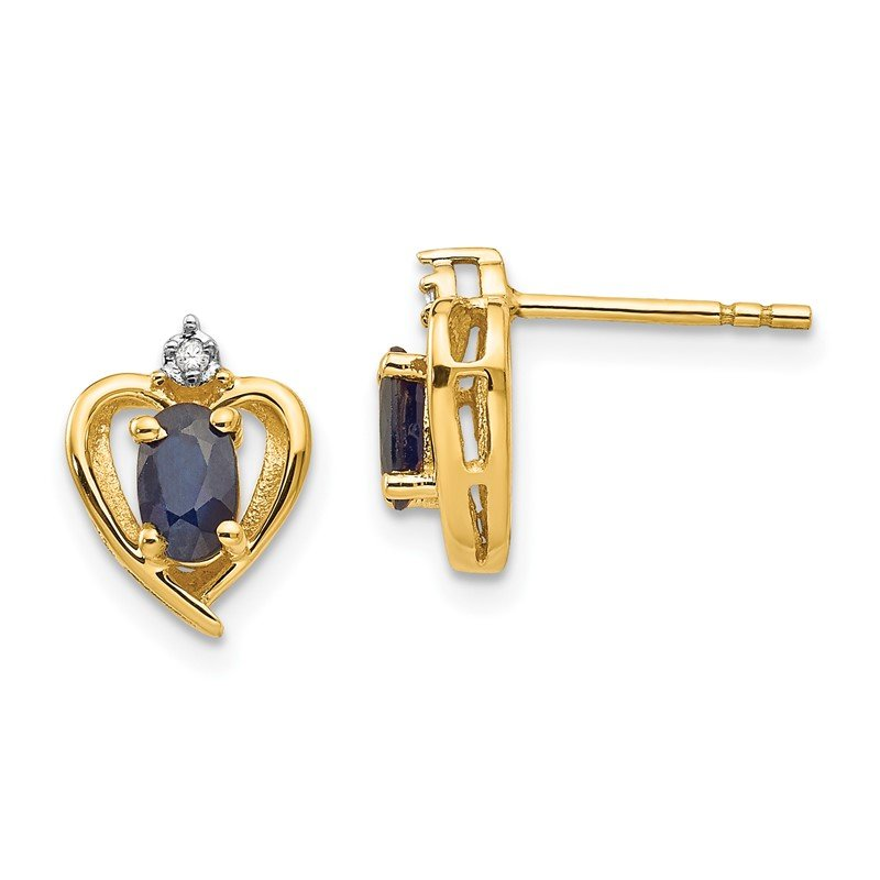 Quality Gold 14k Sapphire and Diamond Heart Earrings