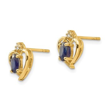 14k Sapphire and Diamond Heart Earrings