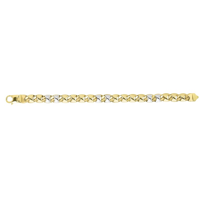 Royal Chain 14K Yellow & White Gold Fancy Puffed Mariner Chain