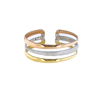 18Kt Yellow, White And Rose Gold 2 Rowdiamond Bangle