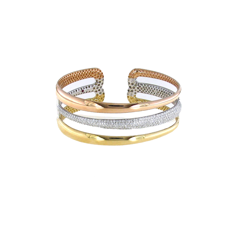 Roberto Coin 18Kt Yellow, White And Rose Gold 2 Rowdiamond Bangle