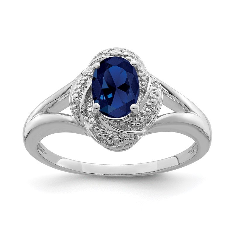 Quality Gold Sterling Silver Rhodium-plated Diam. & Created Sapphire Ring