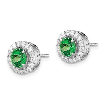 Sterling Silver Rhodium Diamond & Tsavorite Garnet Circle Post Earrings