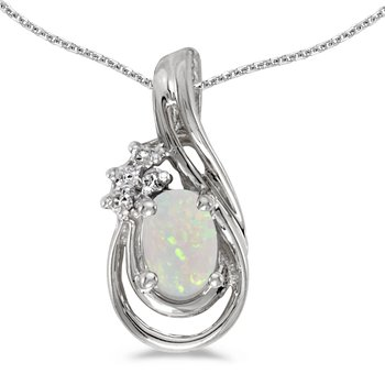 10k White Gold Oval Opal And Diamond Teardrop Pendant