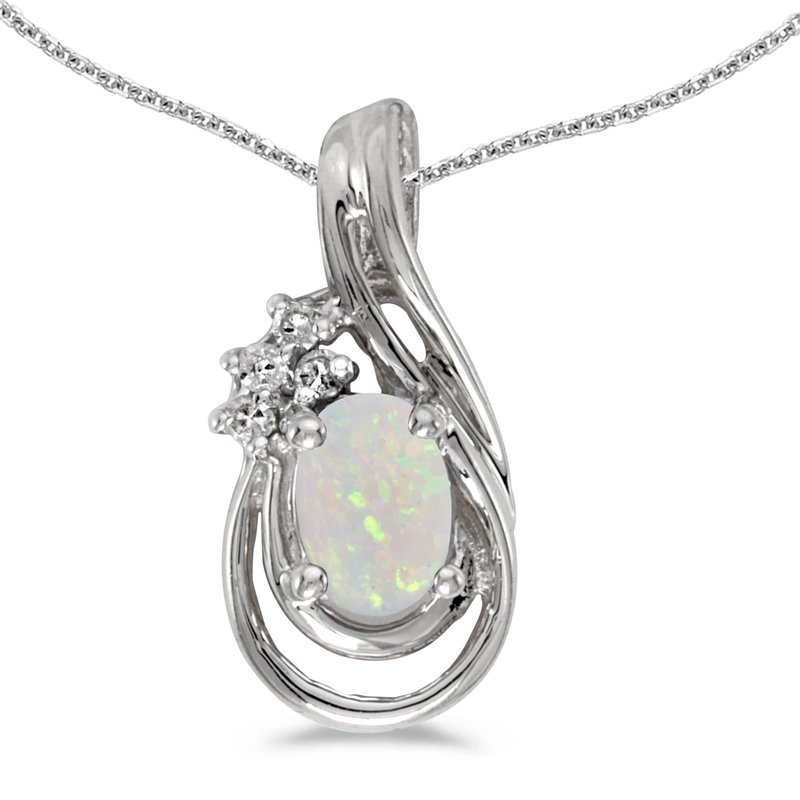 Color Merchants 10k White Gold Oval Opal And Diamond Teardrop Pendant
