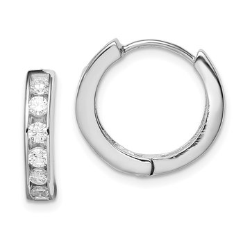 Sterling Silver Rhodium-plated CZ Hinged Hoop Earrings