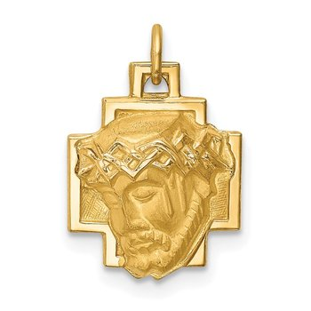 14k Hollow Polished/Satin Small Jesus Cross Medal
